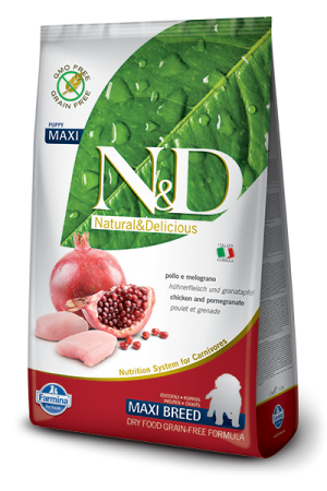 Farmina - Natural & Delicious Grain Free Canine - Chicken & Pomegranate - Puppy Maxi