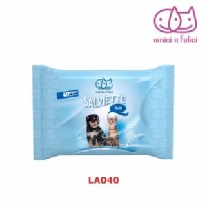 Salviette detergenti al talco per cane e gatto